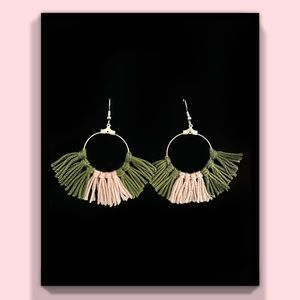 Olive & Dusty Pink Fringe Earrings